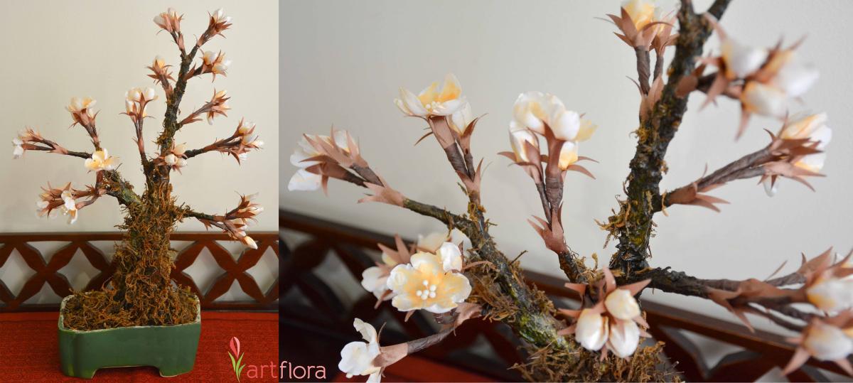 White Floral Bonsai Tree