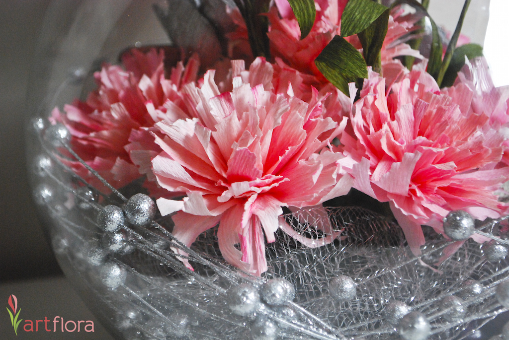 Carnations in a Fishbowl - Close Up