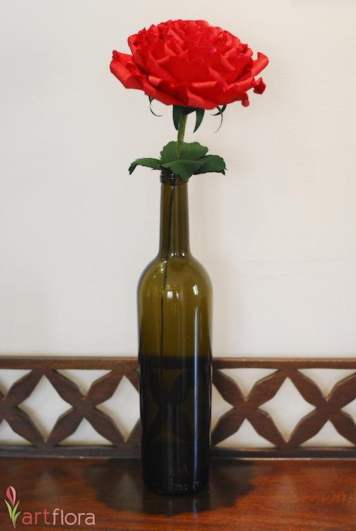 Jumbo Rose in a Wine Bottle
