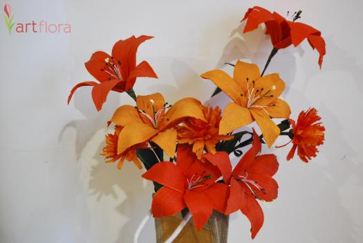 A Bunch of Orange Lilies & Carnations