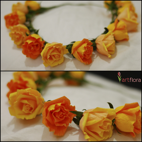 Yellow & Orange Rose Tiara