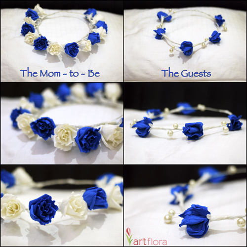 Blue & White Tiara - Baby Shower